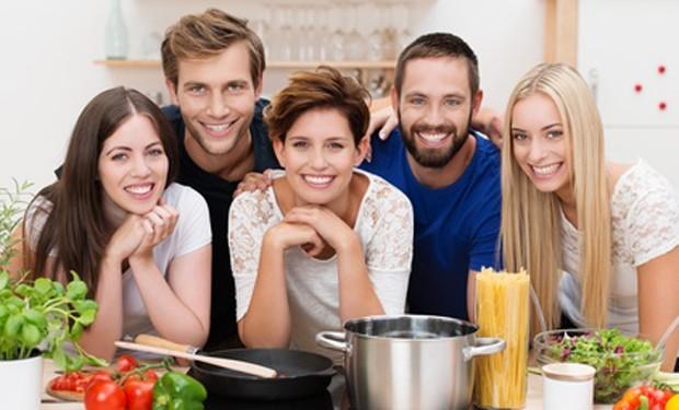 Begeisterte Kochkursteilnehmer
