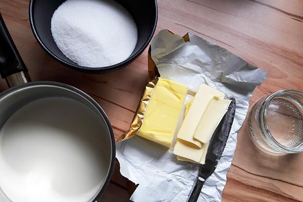 Für den Butterkaramell werden nur ein paar wenige zutaten benötigt.