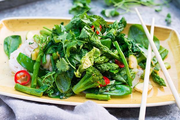 Und fertig ist die das Wok Rezept mit grünem Gemüse.