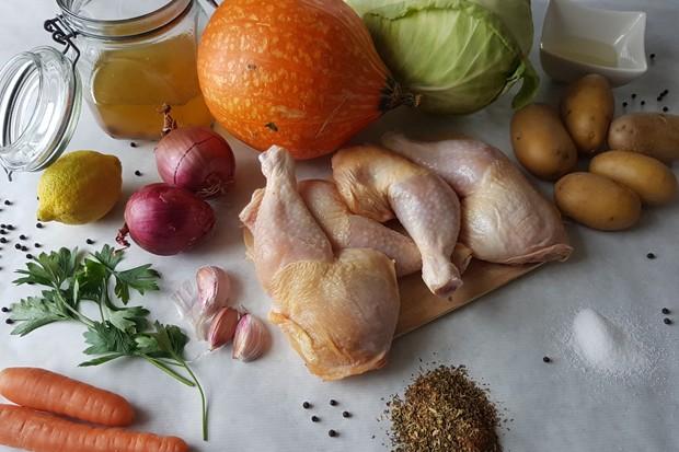 Zutaten für One-Tray-Oven mit Huhn und Gemüse