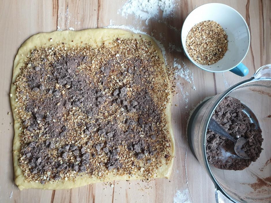 Schokolade-Nuss-Schnecken