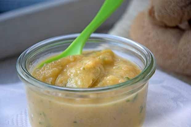 Süßkartoffel-Brei mit Gurke