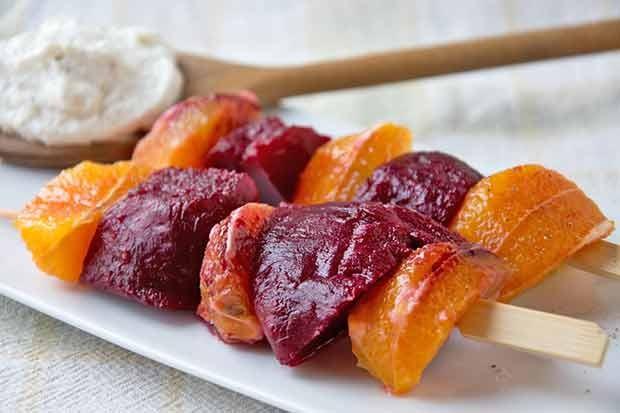 Rote-Rüben-Orangenspieße