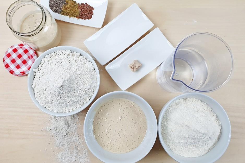 Zutaten für das Brot mit Sauerteig