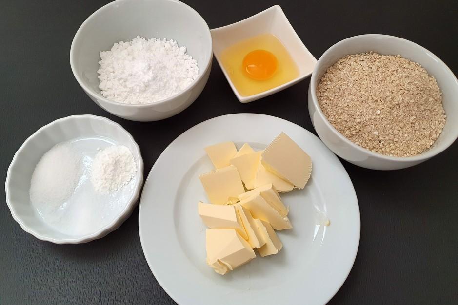 Zutaten für einfache Haferflockenkekse