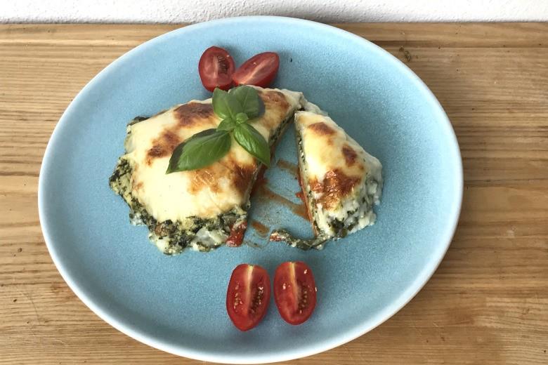 Spinatlasagne mit Pesto