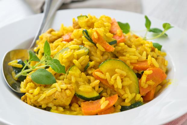 Gemüse Reis Pfanne mit Pute