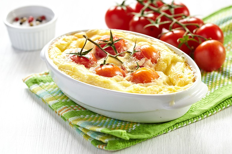 Kartoffelzwiebel-Tomatenauflauf
