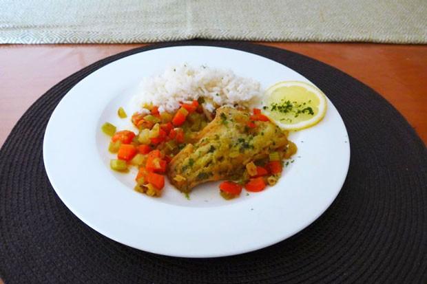 Fischfilet auf Gemüsewürfel