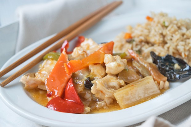 Chilihuhn süß-sauer m. Basmati-Reis