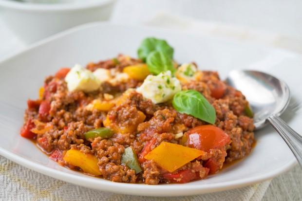 Fleisch-Paprika-Pfanne mit Feta
