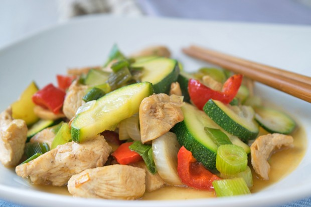 Hühner-Zucchini-Wok