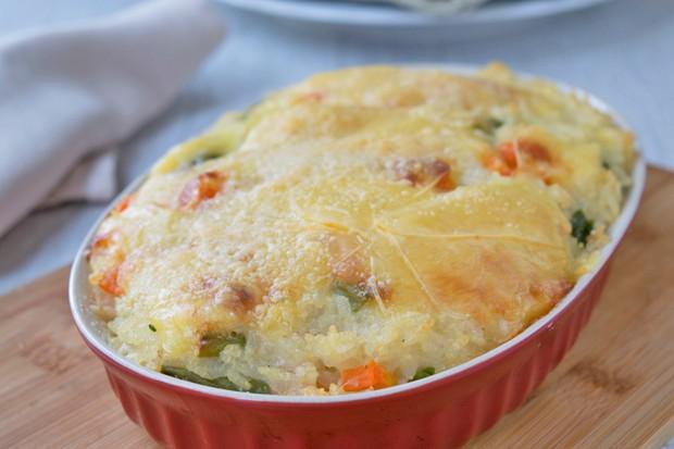 Gemüse-Reisauflauf mit Frankfurter