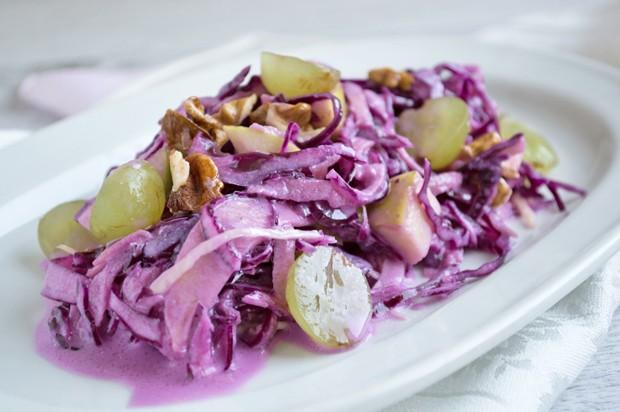 Trauben-Rotkraut-Salat mit Birne