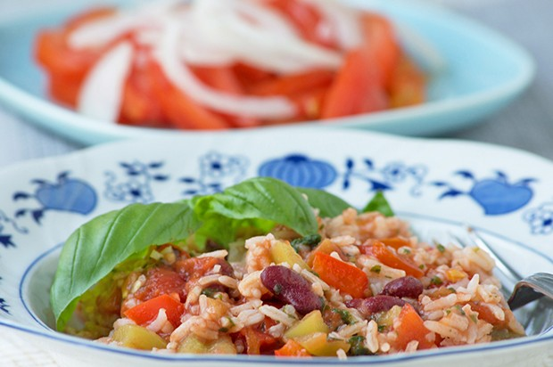 Schnelle Bohnen-Reispfanne