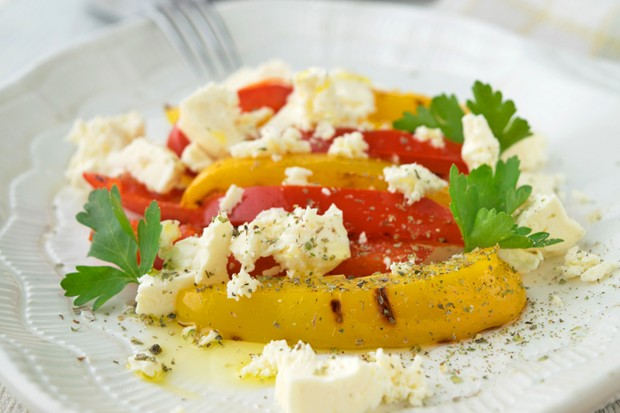 Gegrillte Paprika mit Feta