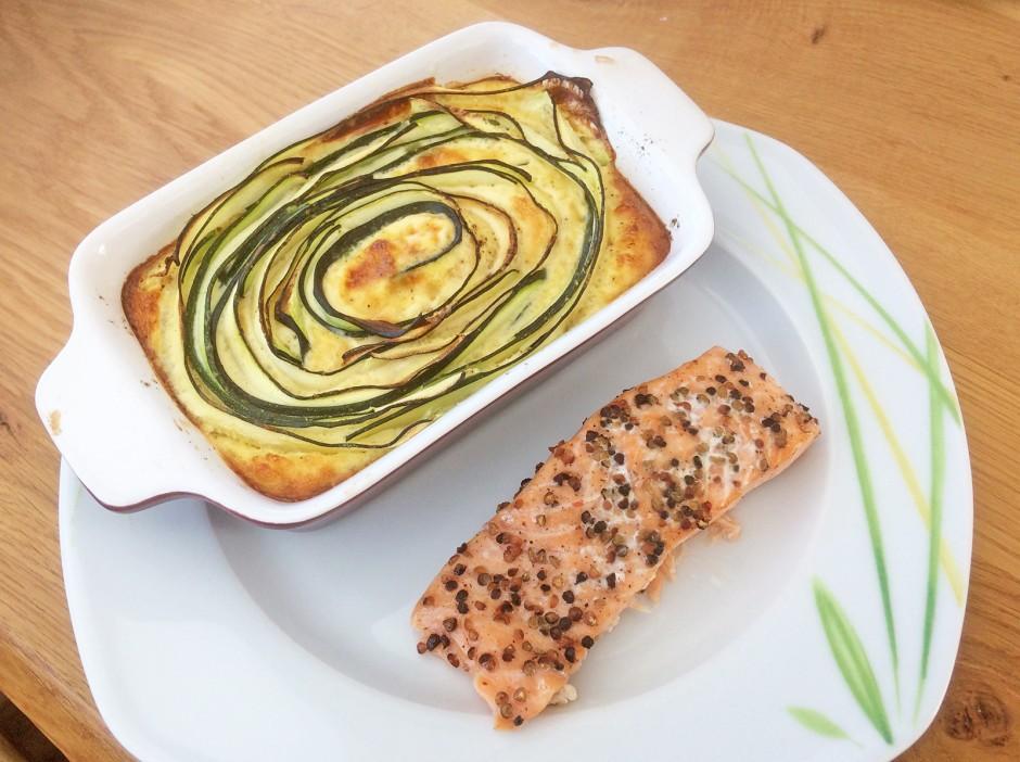 Lachsfilet mit Zucchini-Gratin