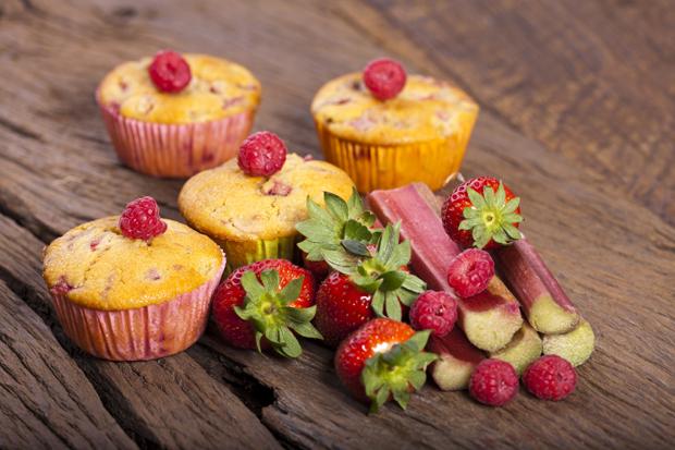 Vollkorn-Rhabarber-Muffins
