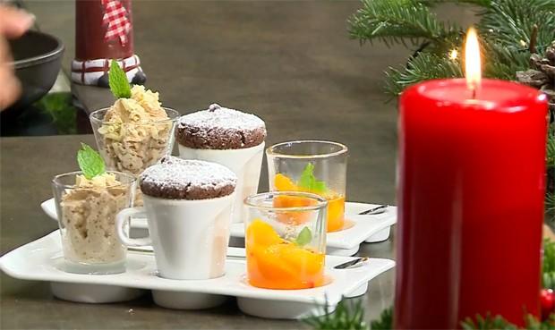 Schokoladen-Tassenkuchen mit Punsch-Orangen