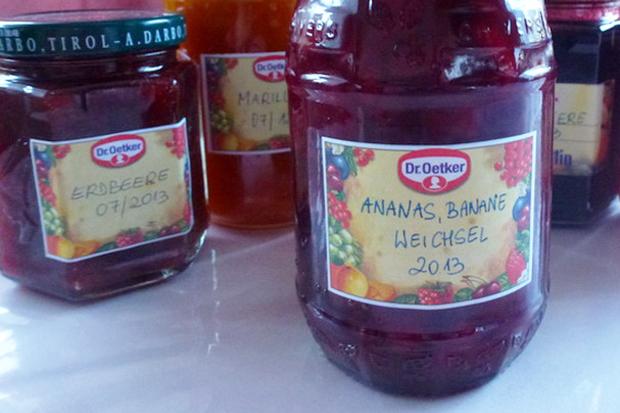 Ananas-Banane-Weichsel-Marmelade