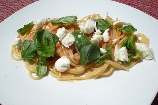 Spaghetti mit ungekochter Tomatensauce