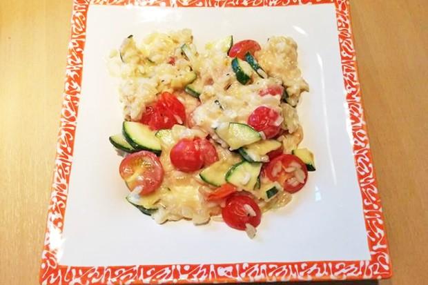 Zucchini-Tomaten-Reis Pfanne