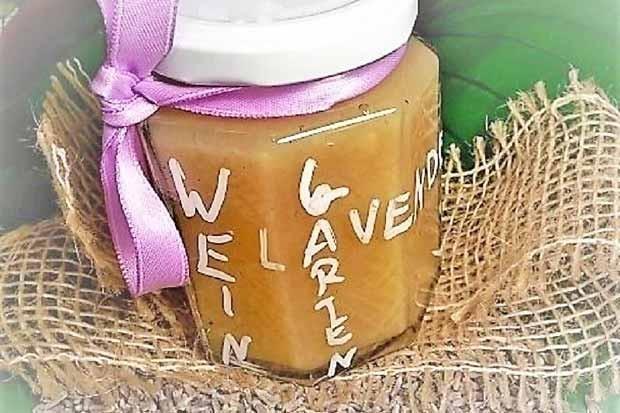 Weingartenpfirsich Marmelade mit Lavendelduft