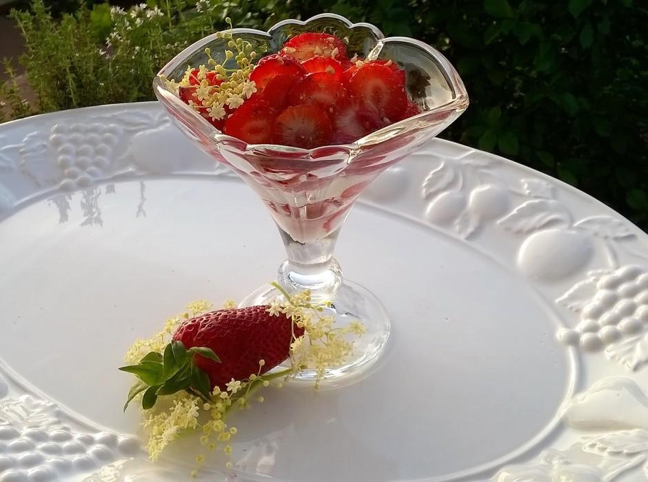 Holundertopfen mit marinierten Erdbeeren