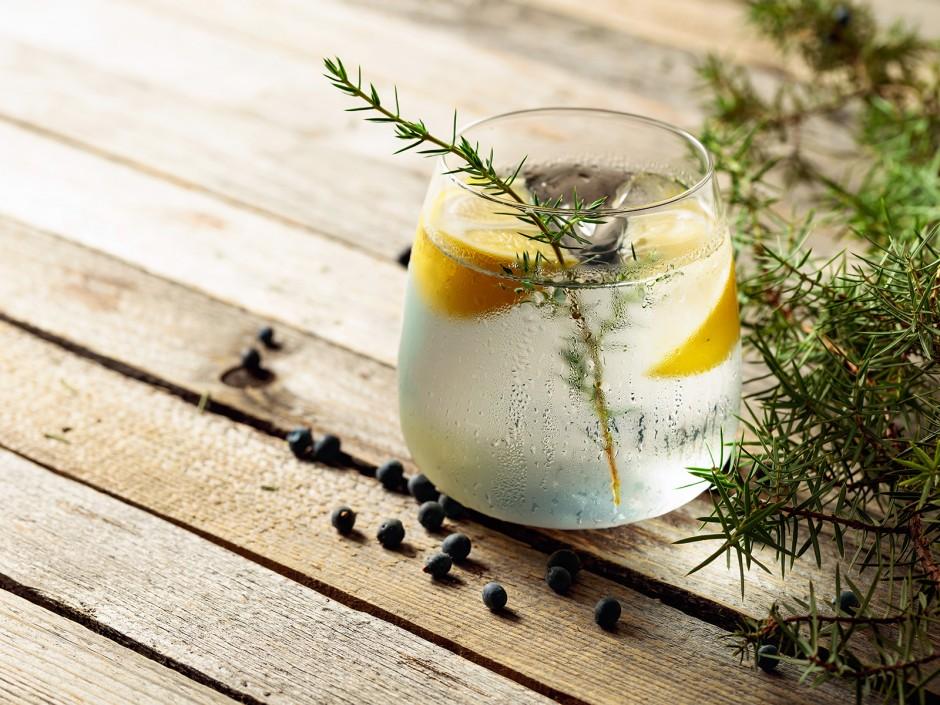 Gin Tonic mit Wacholderbeeren